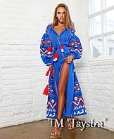 Синее платье вышитое, вышиванка лен, этно стиль бохо шик, вишите плаття вишиванка, длинное платье в пол