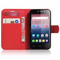 Чехол-книжка Litchie Wallet для Alcatel One Touch Pixi 4 4034D (4.0) Красный
