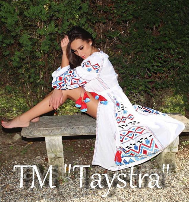Макси платье вышиванка бохо стиль этно, вышитое платье лен, вишита біла сукня, длинное белое платье в пол