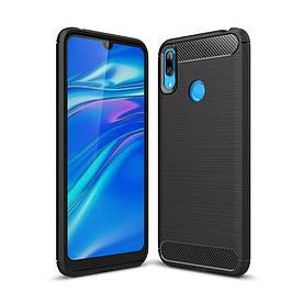 Чехол накладка для Huawei Y7 2019 силиконовый, Carbon Fiber, черный