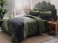 Двуспальное евро постельное белье TAC Borneo green Сатин-Delux
