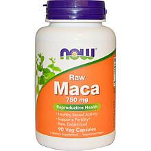 """Мака сырая NOW Foods """"Raw Maca"""" поддержка репродуктивного здоровья, 750 мг (90 капсул)"""