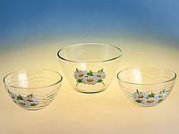 Набір 3 предметний салатниць (1+2) Сідней малюнок квіти в асортименті., фото 1