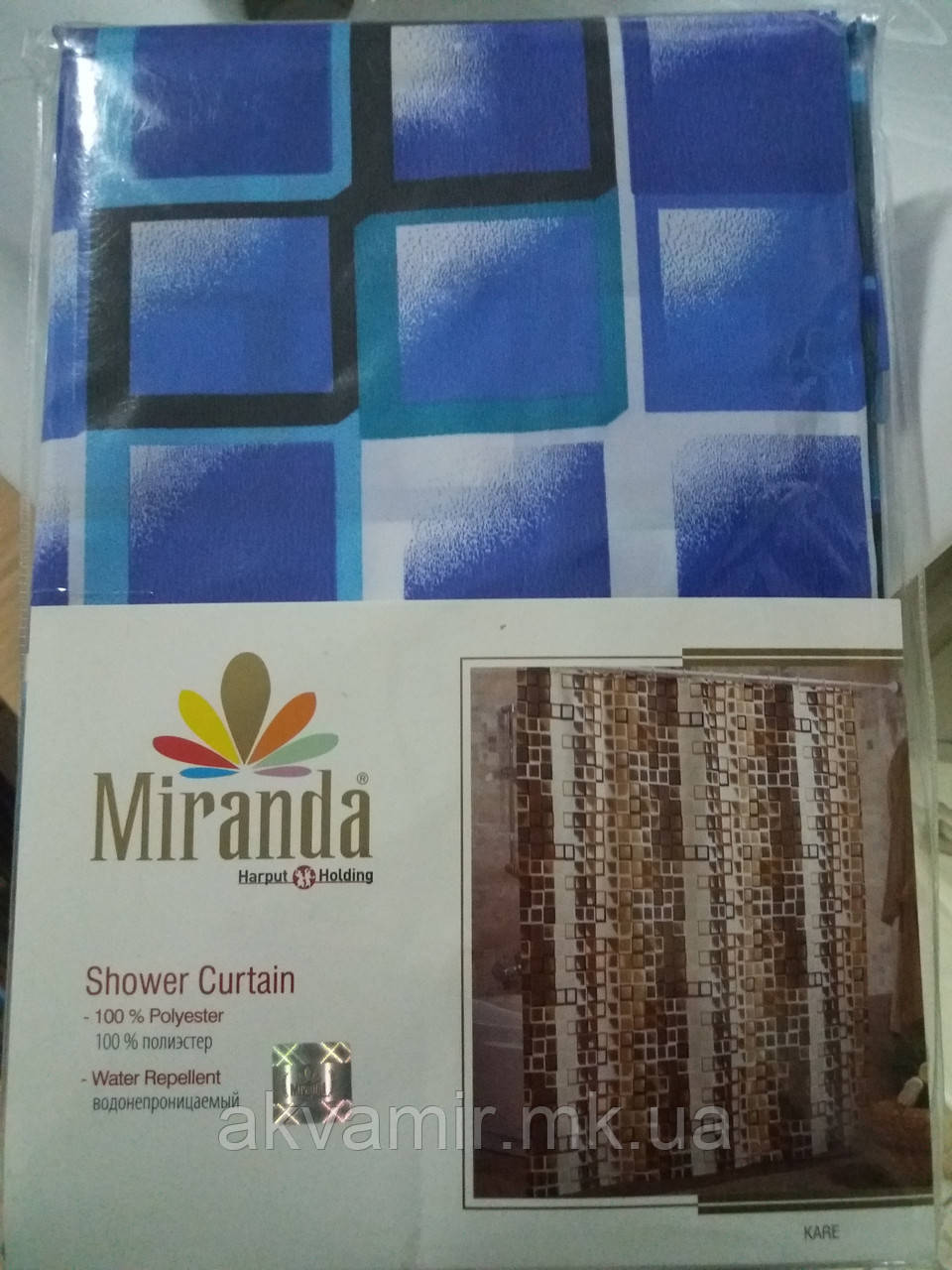 Штора в ванную  Miranda KARE (Турция) 180х200 см синяя