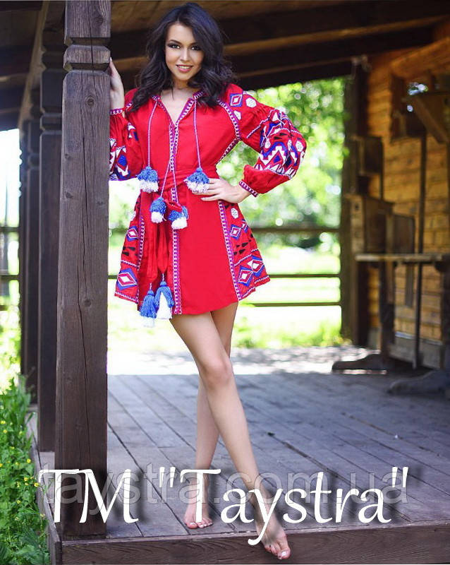 Красное платье вышиванка бохо стиль этно, короткое вышитое платье лен, вишита червона сукня