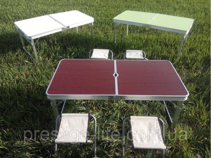 Усиленный Стол-чемодан. Туристический стол и стулья Voyage для пикника + 4 стула