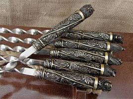"""Подарунковий набір шампурів з бронзовими ручками """"Дикі звірі"""" в кейсі з натурального дерева"""