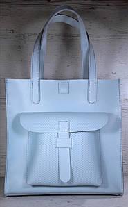 163 Сумка женская натуральная кожа, светло-голубая формат А4+