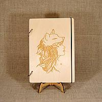 Деревянный блокнот M (А5 формат). Скетчбук Девушка с маской Волк. Блокнот с деревянной обложкой., фото 1