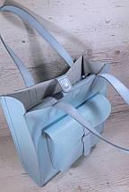 163 Сумка женская натуральная кожа, светло-голубая формат А4+, фото 3