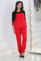 Жіночий костюм Plus size, арт 153 батал, колір червоний + підвіска, фото 1