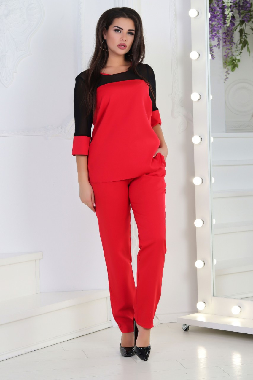 Жіночий костюм Plus size, арт 153 батал, колір червоний + підвіска