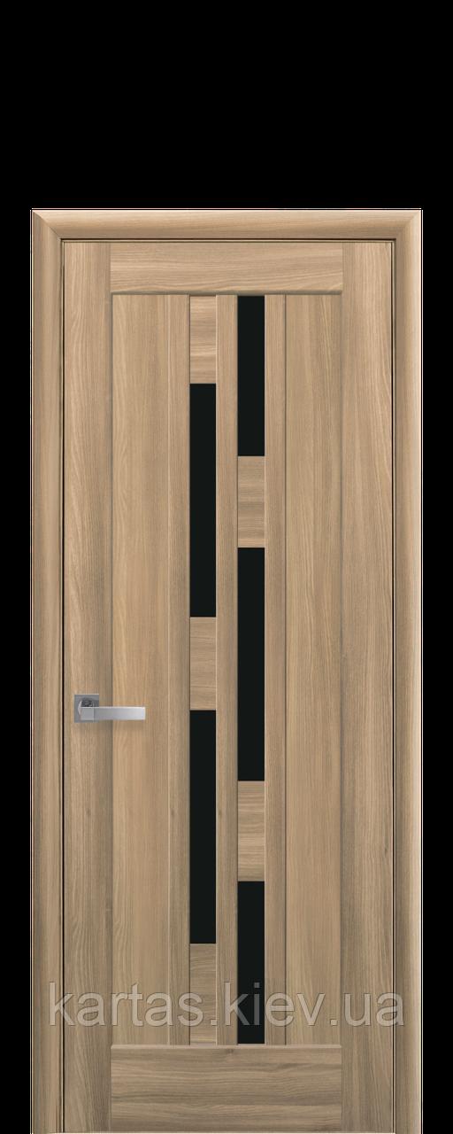 Дверное полотно Лаура Золотой Дуб с черным стеклом