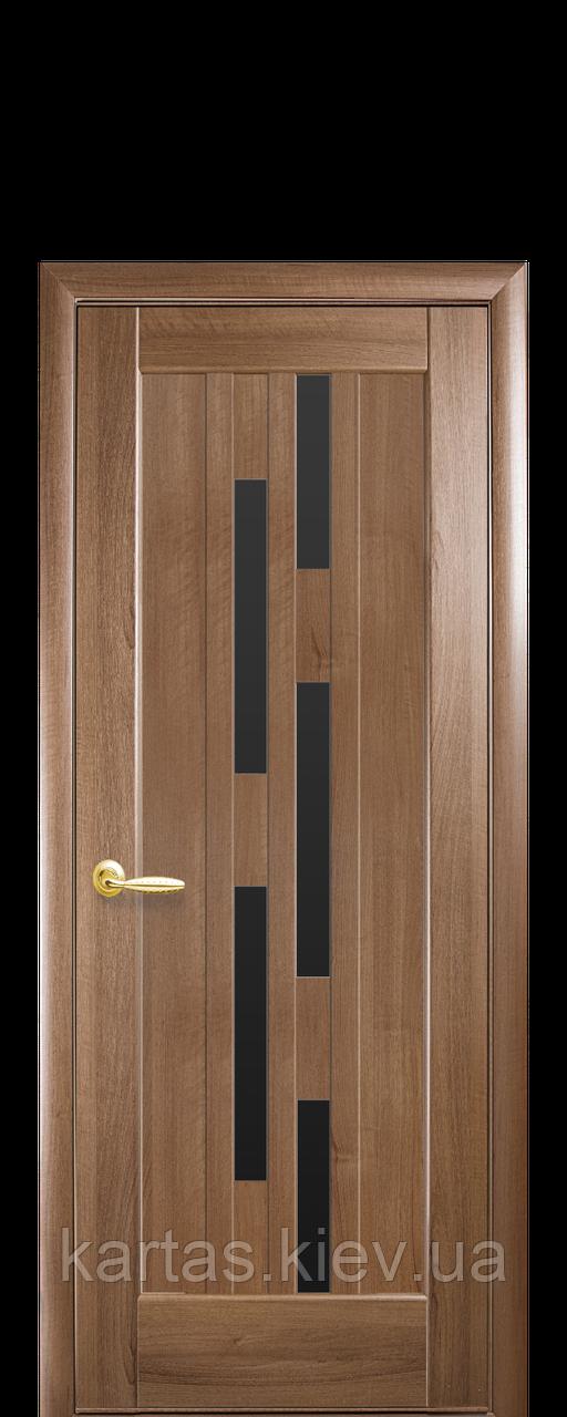 Дверное полотно Лаура Золотая Ольха с черным стеклом