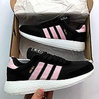 79b85ea3 Женские спортивные кроссовки Adidas Iniki ( Адидас Иники ) черные / розовые  реплика