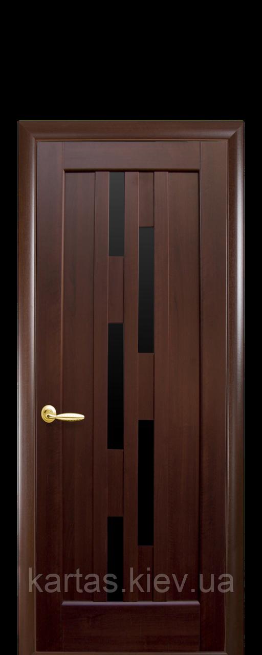 Дверное полотно Лаура Каштан с черным стеклом