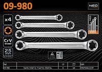 Набор ключей накидных Torx Т6-Т24, 4шт., NEO 09-980, фото 1