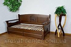 """Деревянный диван с выдвижными ящиками от производителя """"Орфей Премиум"""" 90х200, лесной орех"""