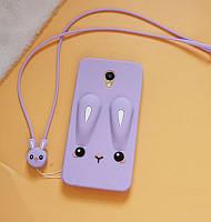 Чехол Funny-Bunny 3D для Meizu M6S Бампер резиновый сиреневый