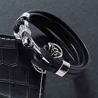 Мужской кожаный стальной браслет сталь 316L Скандинавский Волк Молот Тора