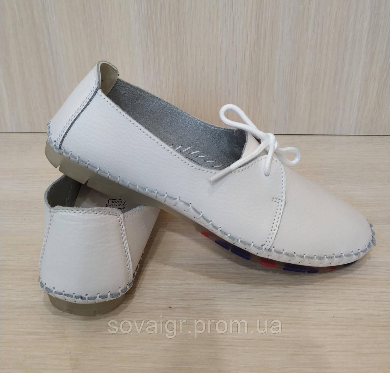 Подростковые кожаные белые туфли для девочки BADEN