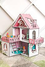 """Кукольный домик для Лол NestWood """"РОЗОВЫЙ МИНИ КОТТЕДЖ"""", 5 комнат (этаж 20см) + Мебель 10ед."""