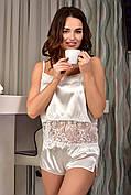 Легкая атласная пижама женская майка с шортами Айвори (Шампань)