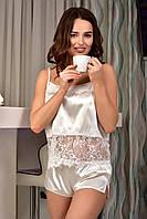 Легкая атласная пижама женская майка с шортами Айвори (Шампань), фото 1