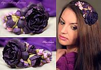 """""""Фиолетовая мечта"""" обруч с большими цветами"""