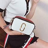 Сумка жіноча Camera Bag з текстильним ремінцем в стилі Marc Jacobs (біла), фото 3