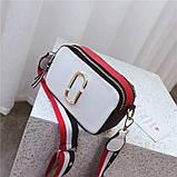 Сумка жіноча Camera Bag з текстильним ремінцем в стилі Marc Jacobs (біла), фото 4