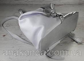 """291-4 Натуральная кожа, Городской рюкзак кожаный серебро рюкзак женский белый рюкзак с карабином """"антивор"""", фото 3"""