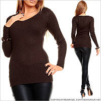 Темно-коричневый пуловер