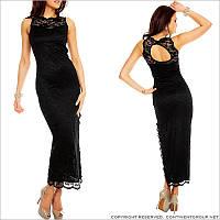 Кружевное длинное черное платье