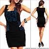 Вечернее черное платье с принтом
