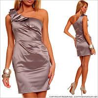 Серое платье на одно плечо