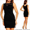 Черное прямое платье с кружевом