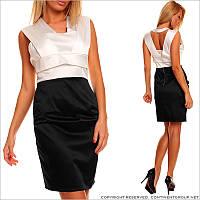 Черно-белое приталенное платье