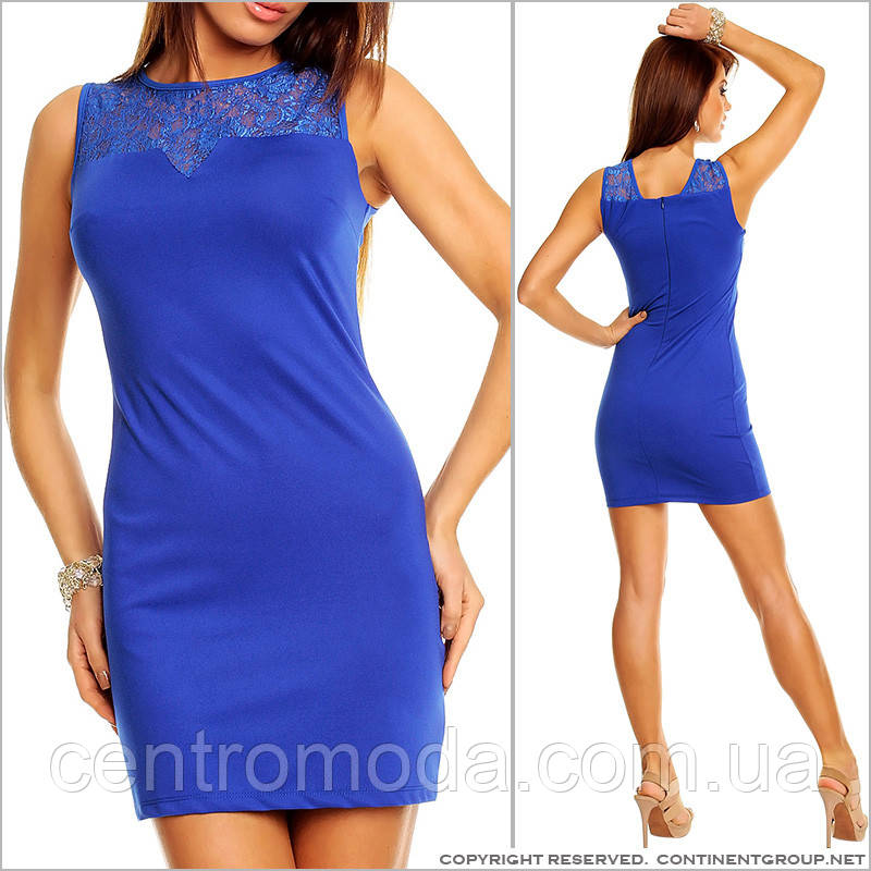 7b754466b29 Платье синее с кружевом