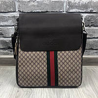 9c920fe7fdd0 Стильная женская сумка-планшетка Gucci коричневая эко-кожа через плечо  удобная унисекс Гуччи люкс