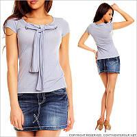 Голубая футболка с бантиком