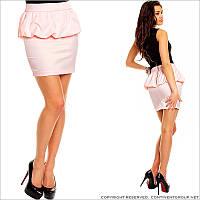 Розовая юбка с баской