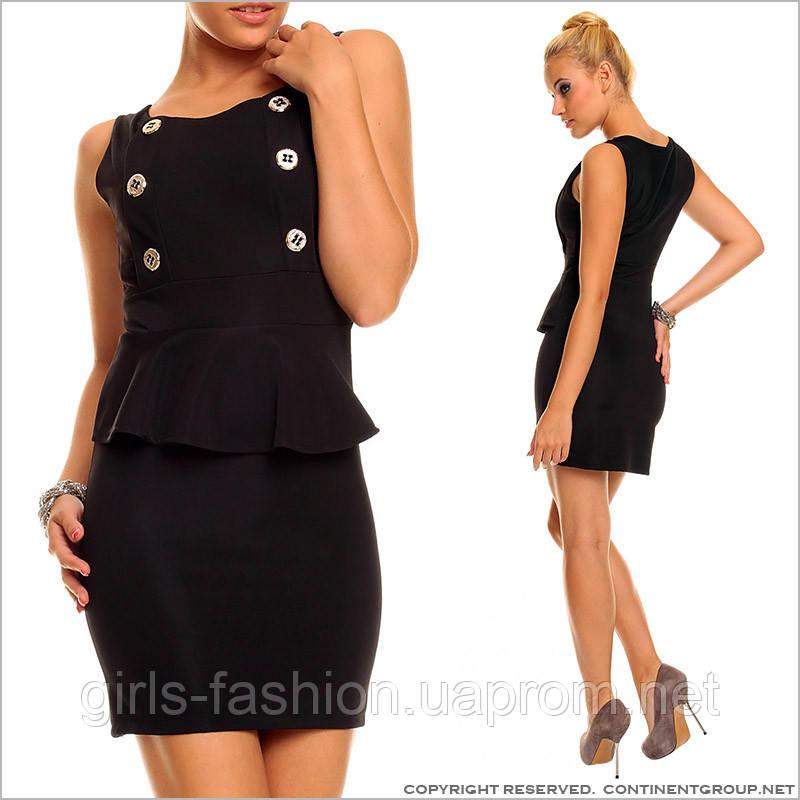6aa27420390 Черное платье с баской