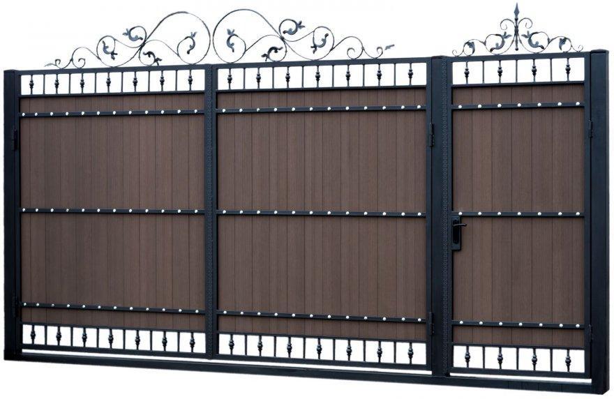 Ворота распашные из террасной доски с калиткой 3000*2000 и 1000*2000 без столбов