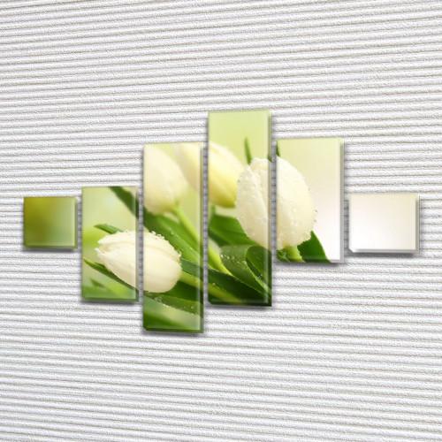 Белые тюльпаны, модульная картина (Цветы), на ПВХ ткани, 75x120 см, (18x18-2/40х18-2/65x18-2)