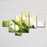 Белые тюльпаны, модульная картина (Цветы), на ПВХ ткани, 75x120 см, (18x18-2/40х18-2/65x18-2), фото 1