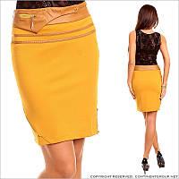Желтая юбка до колен