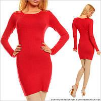 Красная туника - платье с погонами