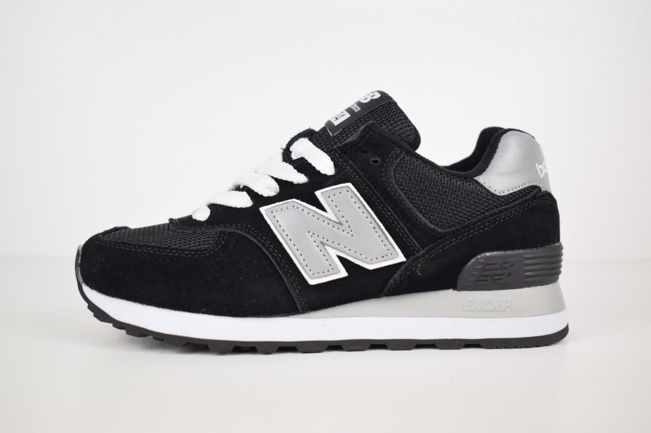 Женские кроссовки New Balance 574  черные + cерая N