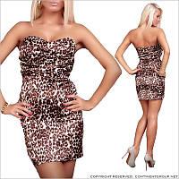 Коктейльное леопардовое платье - бандо